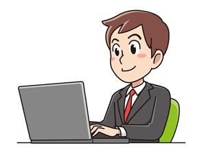 パソコンに向かう男性のイラスト