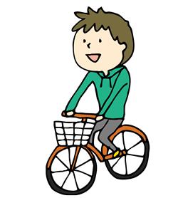 自転車に乗っている画像