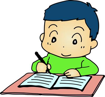 ノートに書く子供のイラスト